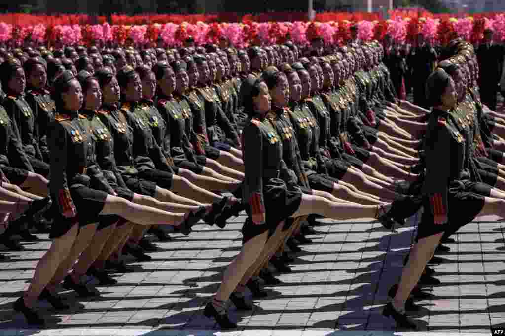 Korean People's Army (KPA) soldiers march during a mass rally on Kim Il Sung square in Pyongyang, North Korea. Thousands of North Korean troops followed by artillery and tanks paraded through Pyongyang as the nuclear-armed country celebrated its 70th birthday.