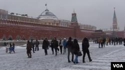 冬天的莫斯科红场和列宁墓(美国之音 白桦)