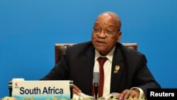 FILE - South Africa's President Jacob Zuma delivers a speech ahead of the signing ceremony of BRICS Business Council at 2017 BRICS Summit in Xiamen, Fujian province in China, Sept. 4, 2017.