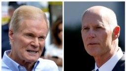 Thượng nghị sĩ Dân chủ Bill Nelson (trái) và Thống đốc Cộng hòa Rick Scott đang tranh một ghế vào Thượng viện Hoa Kỳ.