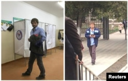 A combination picture shows a voter visiting polling station number 217, at left, and walking toward the entrance of polling station number 216, during the presidential election in Ust-Djeguta, Russia, March 18, 2018. The voter, asked by a Reuters reporter why he was voting a second time, said he had voted only once, and then he left the polling station.