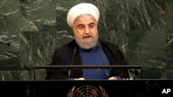 Iranian President Hassan Rouhani speaks during the United Nations General Assembly at U.N. headquarters, Sept. 20, 2017.