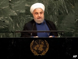 ປະທານາທິບໍດີ ຂອງອີຣ່ານ ທ່ານ Hassan Rouhani ກ່າວໃນລະຫວ່າງ ກອງປະຊຸມສະມັດຊາໃຫຍ່ ອົງການສະຫະປະຊາຊາດ ຢູ່ສຳນັກງານໃຫຍ່ ສະຫະປະຊາຊາດ ໃນນະຄອນ ນິວຢອກ, ວັນທີ 20 ກັນຍາ 2017.