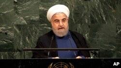 Tổng thống Iran Hassan Rouhani phát biểu trong phiên họp của Đại hội đồng Liên Hiệp Quốc tại trụ sở Liên Hiệp Quốc ở New York, ngày 20 tháng 9, 2017.