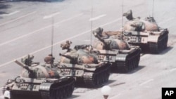A man stands in front of tanks near Tiananmen Square in June 1989.
