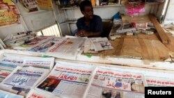 Unn kiosque à journaux à Khartoum,le 10 novembre 2012.