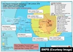 Peta Daerah Terdampak Gempa 7SR Lombok. (Foto: Humas BNPB)
