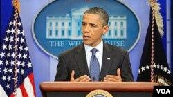 Presiden Obama memberikan penjelasan di Gedung Putih mengenai gagalnya kesepakatan soal batas utang dengan Kongres (22/7).