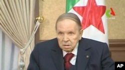 FILE - Algeria's President Abdelaziz Bouteflika looks on during a meeting in Algiers, Algeria, in this handout still image taken from a TV footage released March 11, 2019.