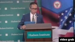 Duta Besar Indonesia untuk Amerika Serikat, Mahendra Siregar, saat memberikan sambutan pada acara diskusi di Hudson Institute, Washington, D.C., 9 Juli 2019. (Foto: videograb/Hudson Institute)