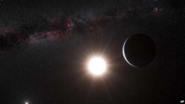 Gambar planet mirip bumi yang dikeluarkan oleh Observatorium Eropa Selatan. (AP/ESO, L. Calcada)