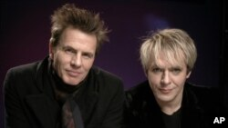 Recording artists John Taylor, left, and Nick Rhodes of Duran Duran pose for a portrait March 30, 2011 in New York.