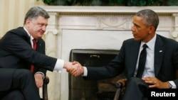 Presiden AS Barack Obama menerima Presiden Ukraina Petro Poroshenko di Gedung Putih, Kamis (18/9).