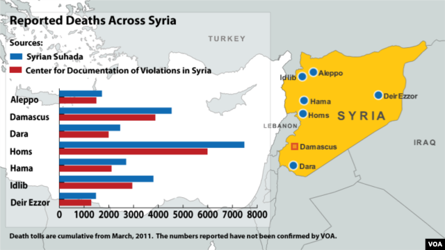 Deaths Across Syria, map dated Aug 16, 2012