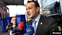 Ireland's Prime minister Leo Varadkar arrives for the EU Social Summit in Gothenburg, Sweden, Nov. 17, 2017. On Thursday, his government was on the verge of collapse.
