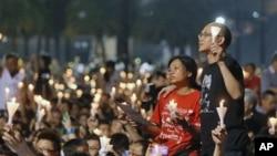 홍콩 빅토리아 공원에서 톈안먼 사태 23주기를 맞아 열린 희생자 추모집회.