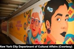 """I Still Believe in Our City"" public art installation by Amanda Phingbodhipakkiya in New York's subway station."