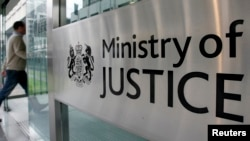 A view of the entrance of the British Ministry of Justice in London.