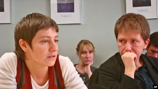Authors Irina Borogan (left) and Andrei Soldatov in New York, 7 Oct 2010