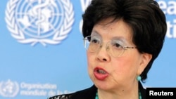 FILE - World Health Organization Director-General Margaret Chan is seen addressing the media.