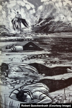 "Woodcuts by Robert Quackenbush for ""The Open Boat"" by Steven Crane"