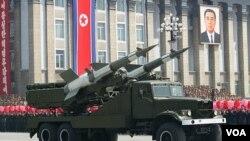 북한이 지난 4월 태양절 열병식에서 공개한 미사일. (자료사진)