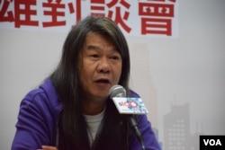 香港立法會議員梁國雄。(美國之音湯惠芸攝)