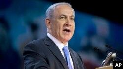 베냐민 네타냐후 이스라엘 총리가 2일 미국 내 친이스라엘 단체인 '미국이스라엘 공공정책위원회'(AIPAC) 행사에서 연설하고 있다.
