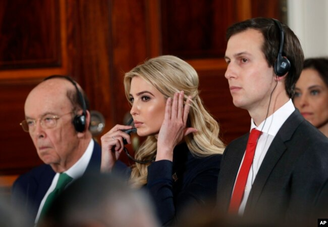 Commerce Secretary Wilbur Ross, Ivanka Trump and senior presidential adviser Jared Kushner listen during a news conference with President Donald Trump and German Chancellor Angela Merkel in the East Room of the White House in Washington, March 17, 2017.