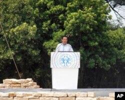 台湾总统马英九在和平祈福仪式上致词