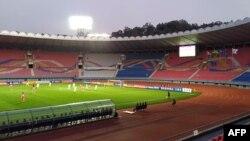 15일 평양에서 열린 남북한 월드컵 예선전은 관중 없이 진행됐다.