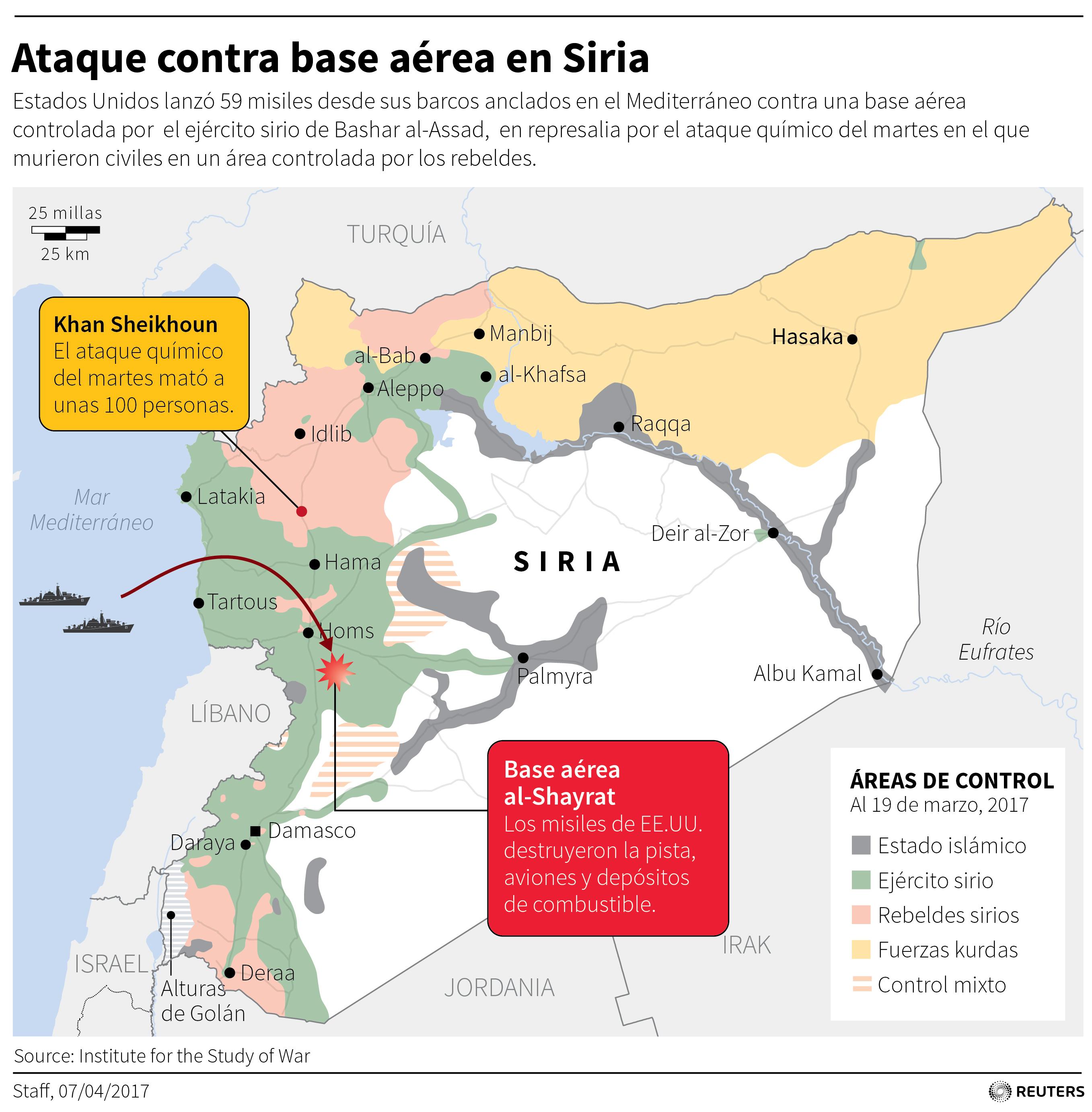 Mapa Del Ataque De Estados Unidos Contra Siria