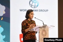 Menteri Keuangan Sri Mulyani berbicara mengenai pembiayaan pasca bencana dalam Pertemuan IMF-Bank Dunia di Bali, Rabu, 10 Oktober 2018.( Foto Humas Kemenkeu RI)