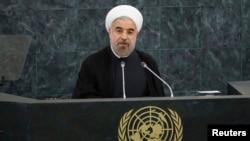 하산 로하니 이란 대통령이 지난 24일 뉴욕에서 열린 제 68회 유엔 총회에서 연설하고 있다.