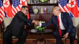 دونالد ترامپ رئیس جمهوری آمریکا و کیم جونگ اون رهبر کره شمالی، پیش از آغاز مذاکرات تاریخی خود در هتل کاپلا - ۱۲ ژوئن ۲۰۱۸
