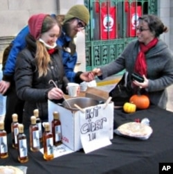 Rob, who sells cups of hot homemade apple cider to passersby, is thankful for his connection to the natural world.