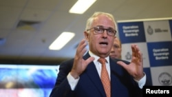 FILE - Australia's Prime Minister Malcolm Turnbull speaks to the media.