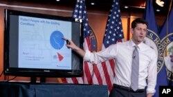 El presidente de la Cámara de Representantes, Paul Ryan, republicano por Wisconsin durante una presentación a la prensa del plan de salud de su partido para reemplazar Obamacare.