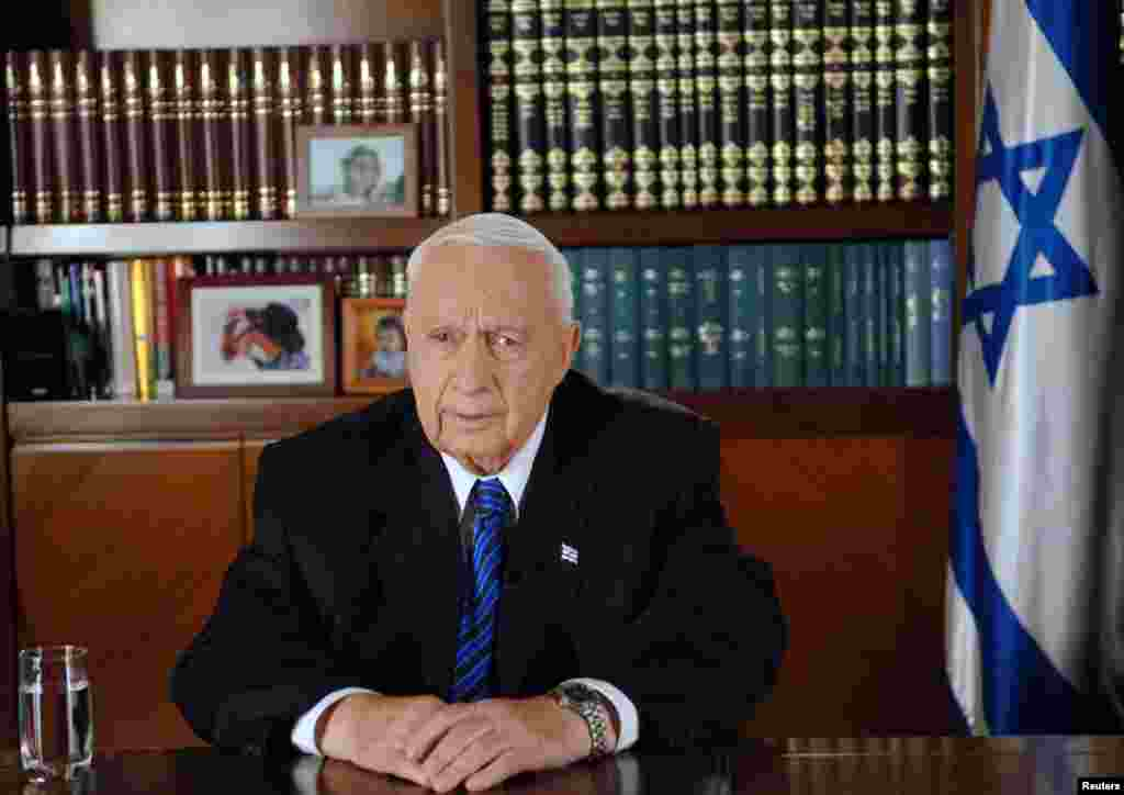 Then Israeli Prime Minister Ariel Sharon gives a televised address to the nation from Jerusalem, August 15, 2005.
