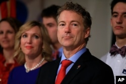 FILE - Then-Republican presidential candidate Rand Paul, R-Ky, is shown in Des Moines, Iowa, Feb. 1, 2016.