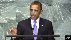 25일 유엔 총회에서 연설하는 바락 오바마 미국 대통령.