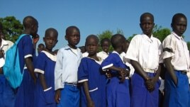 Children gather for morning Assembly at the Marol Academy, Sourthern Sudan, Nov 5, 2010.