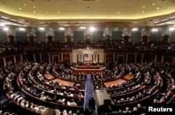 美国总统川普在国会联席会议上讲话。(2017年2月28日)