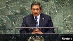 Presiden Susilo Bambang Yudhoyono dalam sidang Majelis Umum PBB di New York baru-baru ini. (Reuters/Mike Segar)