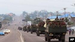 Truk militer Kongo membawa pasukan Kongo setelah kekerasan terjadi akibat ditundanya pemilu presiden di Kinshasa, Republik Demokrasi Kongo, 20 September 2016. (File: dok.)