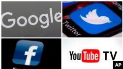 Logo của Google, Twitter, YouTube TV và Facebook. YouTube, Google vàTwitter hàng ngày tải hàng hà sa số clip video, bình luận, chia sẻ nhiều tới mức không thể nào kiểm duyệt hết. (AP Photo)