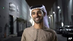 """In this Aug. 18, 2017 photo, Emirati filmmaker Abdulla Al Kaabi speaks to The Associated Press in Dubai after screening his film """"Only Men Go To The Grave."""""""