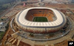 Soccer City Stadium in Johannesburg, South Africa, site of the 11 June opening ceremonies of the 2010 World Cup. The biggest stadium in Africa will launch the opening match of this year's World Cup tournament, featuring host South Africa against Mexico.