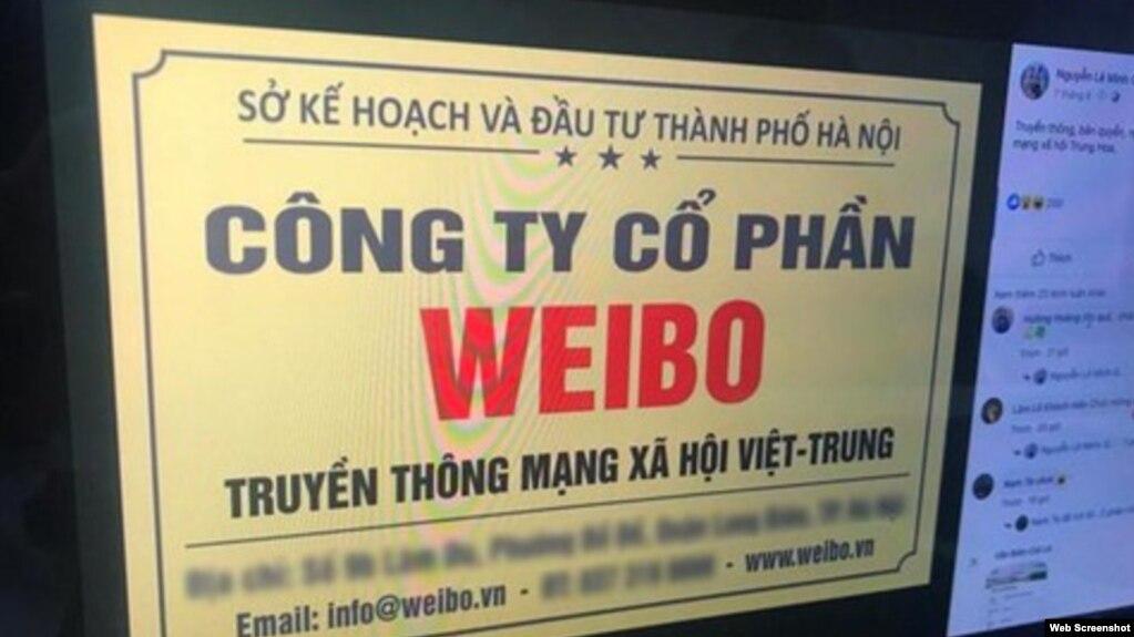 Truyền thông Việt Nam loan tin về sự xuất hiện của Cty Cổ phần Weibo ở Hà Nội. Photo Bao Moi