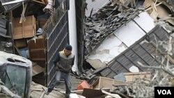 Kerusakan di kota Ishinomaki setelah gempa 7,1 skala Richter melanda Jepang (8/4).